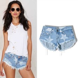 Denim Pantalons Pantalons Chauds En Gros Pas Cher-Wholesale- 2017 New Fashion Summer Beach Club Type Femmes Super Short Coton Hot Pants Star Print Tassel Sexy Lady Denim Short Pantalons Jeans