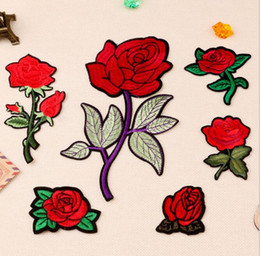 Wholesale Net Clothes NZ - 6Pcs SET Rose Flower Patch for Clothing Iron on Embroidered Sew Applique Cute Patch Fabric Badge Garment DIY Apparel Accessories