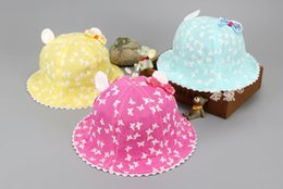 Chapeaux À Godets Pour Enfants En Gros Pas Cher-Vente en gros 10 pcs filles Dome Bucket Chapeaux Bébé Enfant Papillon Impression Fisherman oreille Caps Printemps Eté Soleil Chapeau De Protection MZ4636