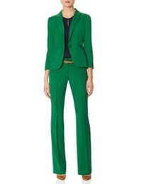 Venta al por mayor de Pantalones de manga larga de las mujeres profesionales traje de señora verde chaqueta de traje de oficina de negocios y pantalones personalizados