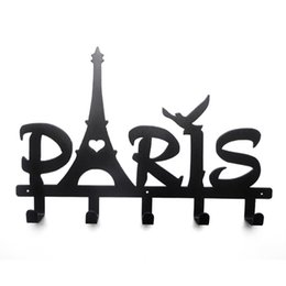 Barato Desenhos De Casaco Exclusivos-Torre Eiffel Design Letter Series Robe Hook 5 gancho Coat / Hat / Bag Unique Style Wall Hanger Decor