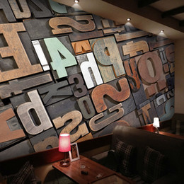 $enCountryForm.capitalKeyWord NZ - Customized KTV Bar Wallpaper Cafe Mural Living Room Restaurant Vintage Wallpaper 3D Wood Block Personality Letter