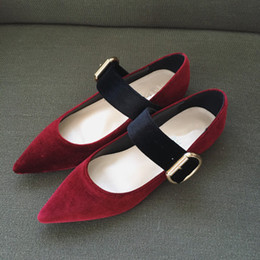 Quality Flats Shoes Canada - TOP QUALITY! u712 velvet genuine leather belt pointy flats shoes burgundy black brown fashion 2017 p