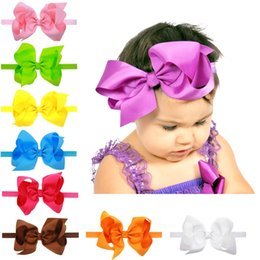 Big Head Bows For Babies NZ - 4.5 In Big Bow Headbands for Babies and Toddlers Solid Ribbon Handmade Head Bands Boutique Hair Accessories Birthday Party Elastic Head Band