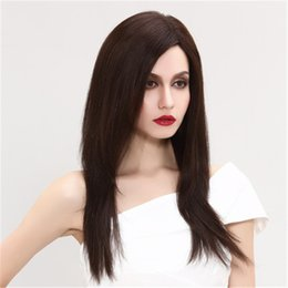 long straight dark brown wigs Canada - Full Lace Human Hair Wig Senior silk wig Long Wavy Full Lace Wigs Brazilian Virgin Hair 100% With Bangs For women Color Dark brown 4 # wig