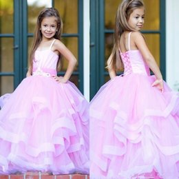 7cf78cb5a Adorable Pink Organza Flower Girls Dresses 2017 Spaghetti Straps Ball Gown  Tier Ruffles Long Lace-up Back Kids Formal Wear Party Gowns
