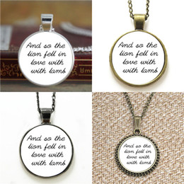 Lion pendant chains online shopping - 10pcs Twilight And so the lion fell in love with the lamb Edward Cullen Quote Glass Necklace keyring bookmark cufflink earring bracelet