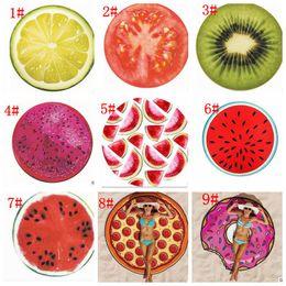 round beach towel fruit design towel blanket pizza hamburger skull ice cream strawberry smiley emoji pineapple 18 design 120 pcs kka1638 cheap strawberry