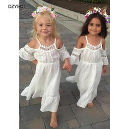 Barato Vestido Do Bebê Do Casamento-Summer Baby Girl Off Shoulder Tunic Dress Costume Fashion Kid White Flower Ceremony Pageant Wedding Princess Frock Roupas para crianças