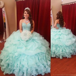 Barato Meninas Espartilho-Mint Green Girls Quinceanera Vestidos Ball Gown Puffy Organza Corset Cristais de frente 2018 Plus Size Long Vestidos De 15 Anos Debutante Vestidos