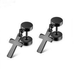 Chinese  Hot hot style Black stud earrings titanium steel bar cross double twist screws dumbbell stud earrings manufacturers