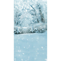 backdrop background for photography forest 2019 - Winter Snow Covered Trees Outdoor Scenic Photography Backdrops Vinyl Snowflakes White Floor Holiday Forest Photo Shoot B