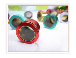Round Tins Lids Canada - Wholesale 100 Pieces Tin Box Metal Round Colorful Small Wedding Candy Sweet Cans Tea Container Clear Lid EMS Free Shipping