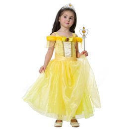 Chinese  Girls cute fairy tale princess lace dress belle pricess dress Beauty and the Beast kids cosplay costume performance party dress for 2-7T manufacturers