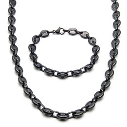 New coffee beaNs online shopping - Fashion Jewlery mm Wide Brand New Men Women s Silver Black Golg Tone Stainless Steel Coffee Bean Link Chain Necklace Bracelet nb07