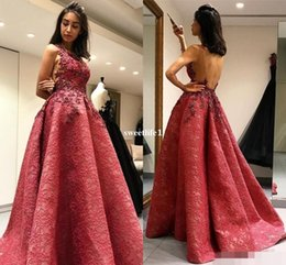 $enCountryForm.capitalKeyWord Canada - 2019 Arabic Lace Evening Dresses A Line High Quality Sexy Backless Appliques Beaded Formal Prom Gown Custom Made Party Gown Newest