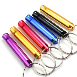 Wholesale Mini Aluminum Alloy Whistle Keyring Keychain For Outdoor Emergency Survival Safety Sport Camping Hunting Random Color