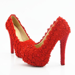 Size 11 Evening Shoes Australia - 5 8 11 14CM Heels Plus Size Red Lace Bridal Bridesmaid Wedding Shoes Prom Evening Party High Heels Hand-made Cinderella Shoes 185