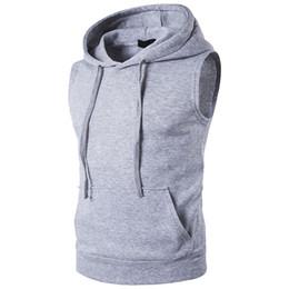 Wholesale slim fit sleeveless hoodie for sale - Group buy New Sweatshirt Hoodies Hip Hop Hoody Pullover Men Sleeveless Tops Slim Fit Streetwear Casual Hoodie