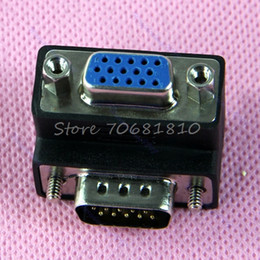 Discount ide vga converter Wholesale- 90 Degree Right Angle 15 Pin VGA SVGA Male to Female Converter Angle Adapter -R179 Drop Shipping