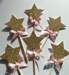 Barato Cupcakes Toppers Atacado-Atacado - Gold Star Cupcake Toppers com Pink Bow, Gold Star 1st Birthday Cake Toppers, Wedding Anniversary Cake Toppers