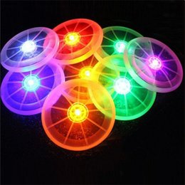 led spin ball 2018 - Wholesale- Colorful Frisbee UFO Kid Toy Spin LED Light Outdoor Toy Flying Saucer Disc Educational UFO Children Beach toy