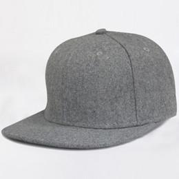 9c0f9049583 Winter Blank Wool Felt Flat Brim Snapback Hats Cheap Plain Grey Woolen Baseball  Caps for Men Women Black Flatbill Snapbacks Cap Wholesale