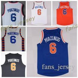 Camisas Blancas Calientes Baratos-Best Quality 6 Kristaps Porzingis Uniforms Rev 30 New Maternal Kristaps Jersey Porzingis Camiseta Team Color Azul Blanco Naranja Negro Hot Men
