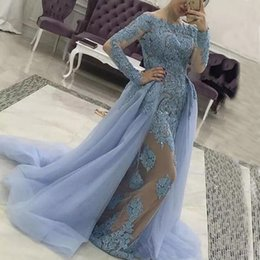 Barato Barco De Renda Destacável-Modest Prom Dresses Long Sleeves Evening Dress Bateau Neck Lace Appliques Nude Forro Vestidos Formal Delechable Tulle Overskirt