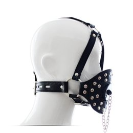 China PU Leather Head Harness Gag with Stopper Cover and Riveted Face Masks for Adult Bondage Kinky Fetish Toys suppliers