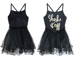 Robes De Lingerie De Danse Pas Cher-INS Girls Baby Black Party Ballet Tutu Robes Girls Gymnastique Leotard Bodysuit sans manches Ruffled Tulle Lettre Dance Tutu Robe 2-11Y
