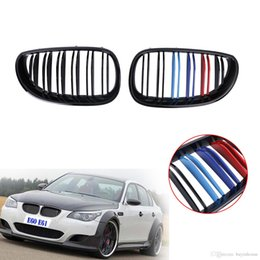 bmw series black kidney grills 2019 - Glossy Black M-Color Double Line Front Grille Kidney Grill For BMW E60 E61 5 Series M5 525 528 530 535 550 545 2003-2010