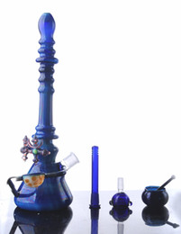 hi bong 2019 - Hi-Q Deep Blue Big Bong Tall Colored Glass Water Pipe Unique Flowers Bong Free Shipping discount hi bong
