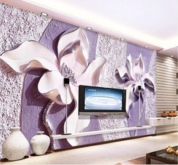 purple wallpaper wholesale UK - Embossed purple magnolia 3d TV background wall mural 3d wallpaper 3d wall papers for tv backdrop