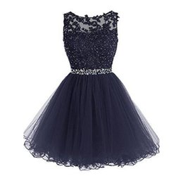 Barato Imagem Real Vestido De Baile Curto-Dark Navy Blue Short Mini Cocktail Party Dresses A-line Tulle Appliques Lace 2017 Homecoming Prom Gowns Imagem real