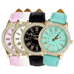 China Geneva New Quartz Watch Women Roman Numerals Dial Wristwatch Women's Leather Rhinestone Bracelet Watches Relojes Mujer suppliers