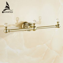 Luxury Golden Towel Rack Double Towel Bar Wall Mounted Crystal Towel Holder Classic Bathroom Accessories Free Shipping Hk 332 Luxury Bathroom Towel Racks
