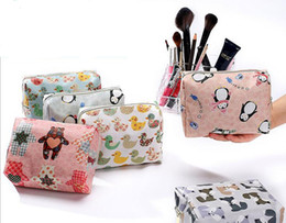waterproof travel toiletry bag Canada - 50pcs 2017 Women Fashion Cotton Cartoon Printed waterproof Protable Zipper Travel Cosmetic Toiletry Kits Bag