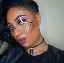 Sunglasses Sizing Canada - Wholesale- Unique Hot transparent Eyeglasses Women Rimless Glasses Oversized Clear Lens Big Size Shades lunettes Sunglasses Female 2017