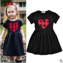 $enCountryForm.capitalKeyWord Canada - Hot Sale Kids Plaid Heart Black Dress Elegent Short Sleeve A-line Dress Casual Sweet Princess Skirt For Little Girls 3 Style Free Shipping