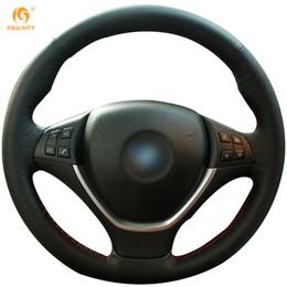 Genuine Leather Steer Covers NZ - Mewant Black Genuine Leather Car Steering Wheel Cover for BMW E70 X5 2008-2013 E71 X6 2008-2014