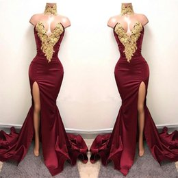Discount hot nude prom dresses - 2019 Hot Sexy Burgundy Velvet Prom Dresses with Gold Lace Appliqued Mermaid Front Split for 2K17 Prom Party Evening Wear