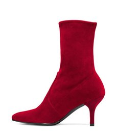 $enCountryForm.capitalKeyWord NZ - 2018 spring winter fashion red ankle boots shoes for women high heels 7cm slip on Stretch boots plush grey boots