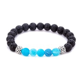 reiki healing wholesalers UK - Hot sale Natural Lava Stone Bracelets Reiki Chakra Healing Balance Beads Bracelet for Men Women Stretch Yoga Jewelry