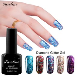 Barato Diamantes Da Arte Do Prego Do Ouro-Atacado- Saroline 8ML 3d Diamond Glitter Color Gold Sequins Gel Verniz embeber fora da uña Art Professional UV Led Cheap Gel Unail Polish