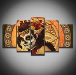skull figures Canada - Printed color sugar skull picture Canvas Painting modern decoration wall art decor for living room home unframed Canvas pictures