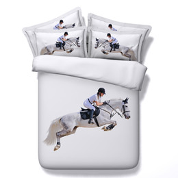 $enCountryForm.capitalKeyWord NZ - 3 Styles 3D White Horse Racing Animal Bedding Sets Twin Full Queen King Size Bedspreads Dovet Covers for Children Boy Adult Bedroom 3 4 pcs