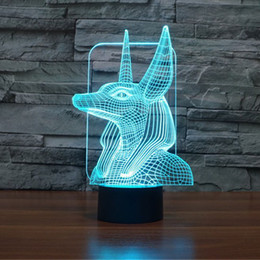 Painted Bedside Tables NZ - Egyptian Pharaoh Guard Unique 3D Lighting Effects Table Lamp,Amazing Optical Illusion LEDChildren Kids Bedroom Bedside Illumination