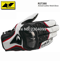 Leather Gloves Rs Taichi Australia - Free shipping Motorcycle Gloves RS Taichi RST390 Mens Perforated Leather Mesh Racing Motocross Motorbike Gloves Black Red White