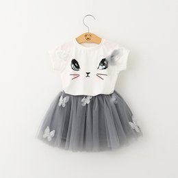 T-shirt Combinaison De Chat Pas Cher-Baby Girl T-shirt Jupe courte Ensemble Summer Kids Vêtements Cute Bow Tutu Tulle Robe Cartoon Cat Short Sleeve Tee 2pcs Suit Free DHL 60